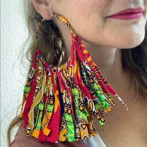 Extra Large Fabric Fringe Hoop Earrings